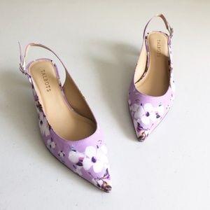 Talbots Pansy Purple Pippa Sling Kitten Heels 7.5